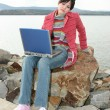 Outdoors with Laptop — Stock Photo