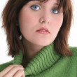 Close Up of Beautiful Teen Girl In Green Sweater — Stock Photo