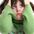 Close Up of Beautiful Teen Girl In Green Sweater — ストック写真