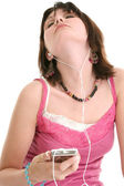 Beautiful Sixteen Year Old Girl Listening To Music — Stock Photo