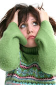 Close Up of Beautiful Teen Girl In Green Sweater — Stok fotoğraf