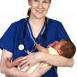 Baby Newborn and Nurse — Stock Photo