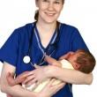 Bebek yenidoğan ve hemşire — Stok fotoğraf