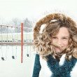 Snow Storm Child at School - Stock Photo
