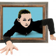 Child Crawling Out of Pop Art - Stock Photo