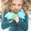 Cold Child in Snow - Stock Photo