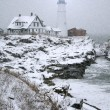 Portland Head Light Snow Storm - 图库照片