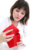 Woman in White with Red Gift Box — Stock Photo