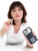 Beautiful Young Woman with Ink Pen and Calculator — Stock Photo