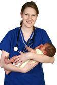 Baby Newborn and Nurse — Stock Photo