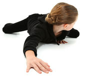 Crawling Away 7 Year Girl — Stock Photo