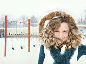 Snow Storm Child at School — Stock Photo