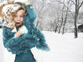 Child in Snow Storm Blizzard — Stock Photo