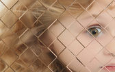 Autistic Child Blurred Behind Pane Of Glass — Stock Photo