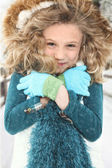 Cold Child in Snow — Stock Photo