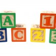 Foto Stock: ABC And 123 Blocks In Stacks Over White