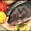 Two Raw Tilapia Fish in Vintage Style Photograph on Cutting Board - Stock Photo