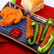Fried Chicken Tender with Potato Wedges and Green Bell Pepper - Stok fotoğraf