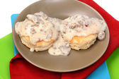 American Southern Style Sausage Biscuits and Gravy in Table Setting — Stock Photo