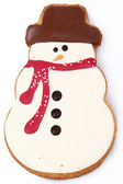 Holiday Snowman Gingerbread Man Cookie — Stock Photo