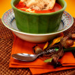 Tomato Bisque Soup and Baguette Bread - Stock Photo