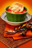 Tomato Bisque Soup and Baguette Bread — Stock Photo