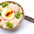 American Korean Style Dukjuk 닭죽 Chicken Porridge - Stock Photo