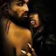 Foto Stock: Sexy Black Vampire Couple