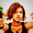 Artistic Portrait of Angry Young Black Woman with Guns — Stock Photo #28085533
