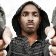Angry Black Male Adult with Handguns — Stock Photo