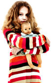Lonely Abandoned Child Hugging Doll — Stockfoto