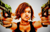 Artistic Portrait of Angry Young Black Woman with Guns — Stock Photo