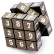 Stock Photo: Number Puzzle Cube Unsolved