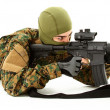 Young Man in Camo Shooting Air Rifle — Stock Photo