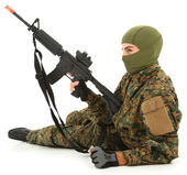 Young Man in Camo with Air Rifle — Stock Photo