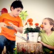 Child Couple in Garden theme — Stock Photo