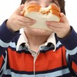 Boy with peanutbutter sandwich — Stockfoto