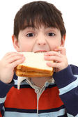 Adorable Caucasian Boy Child Eating Peanut Butter Sandwich in St — Stock Photo