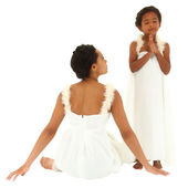 Beautiful black mother daughter portrait. Dressed as angels. Mom — Stok fotoğraf