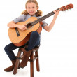 Foto Stock: Beautiful ten year old with acoustic guitar over white with clip