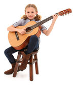 Beautiful ten year old with acoustic guitar over white with clip — Foto de Stock
