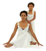 Beautiful black mother daughter portrait in white on white with — Stock Photo
