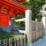 Gate to Buddist Temple in Fukuota Japan — Stock Photo