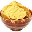 Stock Photo: Gluten Free Jalapeno Corn Chips in Bowl Over White