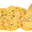 Gluten Free Jalapeno Corn Chips in a Pile over white. — Stock Photo