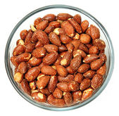 Glass Bowl of Salted Roasted Almonds — Stock Photo