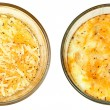 Stock Photo: Before and After Oven Baked Eggs with Cheese