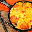 Stock Photo: Skillet Peperoni and Spinach Egg Scramble