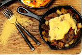 Texas Skillet Breakfast with Steak, Potato and Egg — Stock Photo