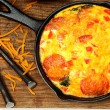 Stock fotografie: Skillet Peperoni and Spinach Egg Scramble